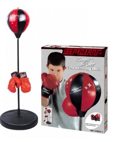 Боксерский набор BB114 надувная груша 20 см на стойке (80-110см), перчатки
