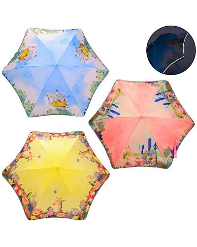 Зонт детский UM1052  R=50 см, светоотражающая лента, 3 вида, в пакете, материал ткань