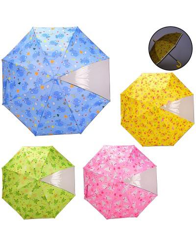 Зонт детский UM521 с окошком, 4 вида, пласт. крепление, светоотраж. лента, R=50 см, материал ткань