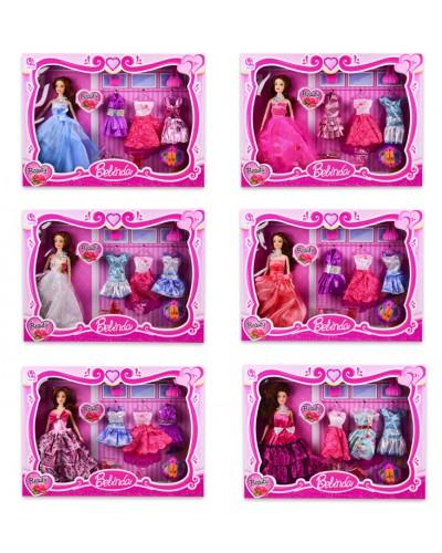 Кукла  61123B с нарядами, платья. аксессуары, 6 видов, в кор. 48*6*35,5 см, р-р игрушки – 29 см