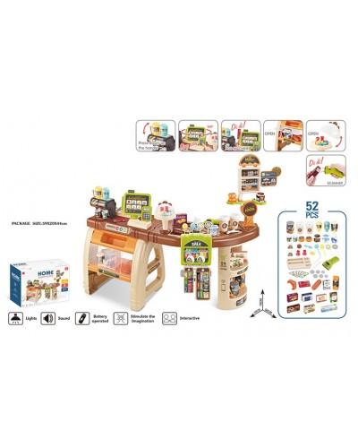 """Набор """"Супермаркет"""" 668-69 свет, звук, касса, кофемашина, продукты, аксес, в кор. 59*44*20 см"""