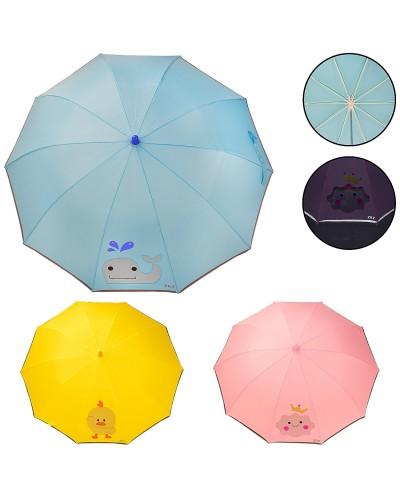 Зонт детский UM5474 с прозрачным окошком, светоотражающая лента, 3 вида, р-р трости – 64 см, ткань