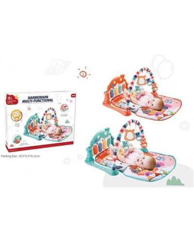 Коврик для малышей 668-151 2 вида, орган, муз, свет, погремушки, в коробке 54*40*8см