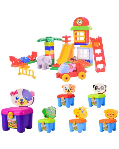 Конструктор  3166A для малышей 3 в 1  Игровая площадка, стул, чемодан, 46 деталей, 6видов