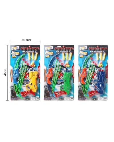 Набор оружия 138C (120шт/2) 3цвета, лук и стрелы, пистолет, мишень, поролон. снаряды и шарики, на пл