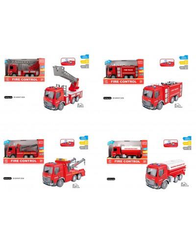 Машина батар. Пожарная серия RJ001ABCD 4вида, в кор. 29,5*11*17,5см
