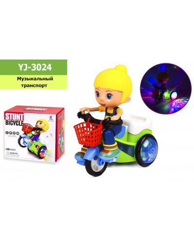 Муз. Мотоцикл YJ-3024 (60шт/2) свет,звук, р-р игрушки - 17*10*19см, в коробке 17,5*11,5*16см