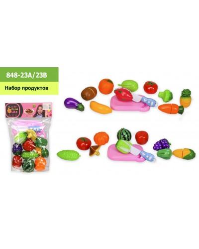 Набор продуктов 848-23A/23B 2 вида, на липучке,фрукты, овощи, в пакете 21*32см