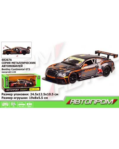"Машина металл 68267A ""АВТОПРОМ"", 1:24 ""Bentley Continental GT3 Concept"", батар., свет, звук, откр.дв"