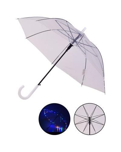 Зонт LED UM5216 прозрачный, со светом, длина трости – 77 см, диаметр в раскрытом виде – 90 см, в пак