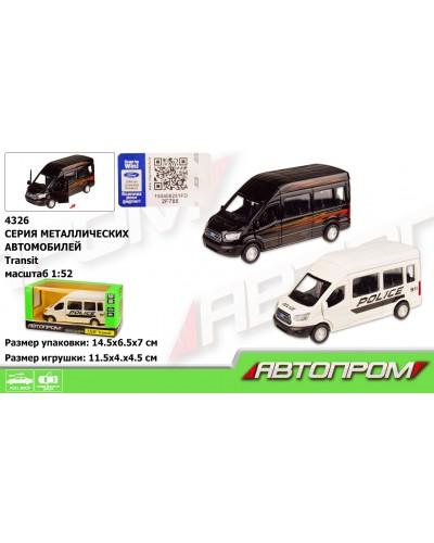 "Машина металл 4326 ""АВТОПРОМ"", 1:52 Ford Transit, 2 цвета, откр.двери, в кор. 14,5*6,5*7см"