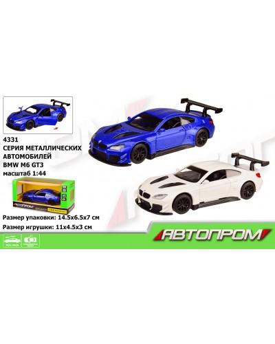 """Машина металл 4331 """"АВТОПРОМ"""",1:43 BMW M6 GT3, 2 цвета, откр.двери, в кор. 14,5*6,5*7см"""