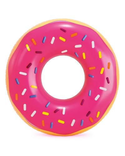 Круг надувн.  56256 Розовый пончик 114 см