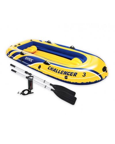 """Лодка 68370 """"Challenger"""" на 3 чел (до 255кг), рефл.дно,весла 69627, насос 68614, в кор. 295*137"""