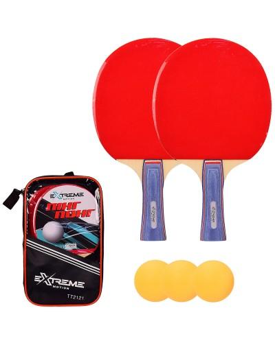 Теннис настольный TT2121 2 ракетки, 3 мячика в чехле (толщина 7 мм) чехол – 17*3.5*28 см