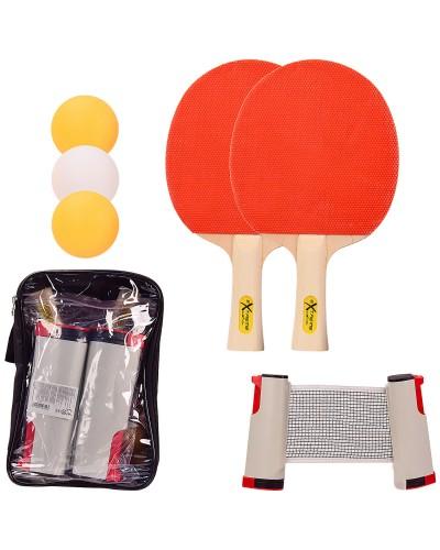 Теннис настольный TT2136 2 ракетки, 3 мячика ABS, с сеткой в чехле (толщина 6 мм )р-р упаковки – 28