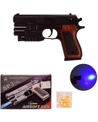 Пистолет SP3-G батар., свет, пульки в коробке – 21*14.5*4 см, р-р игрушки – 18 см