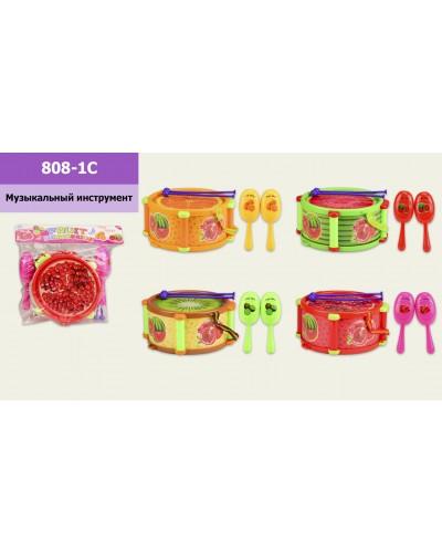 Барабан 808-1C с маракасами, 4 вида, в пакете  27.5*28 см