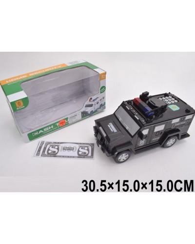 Копилка-сейф машинка 6688-19 кодовый замок, муз. свет, 2 цвета в коробке 30,5*15*
