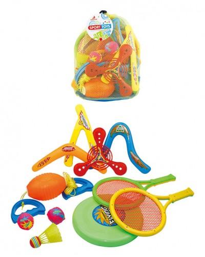 Спортивный набор 6027 бумеранги, ракетки, тарелка в сумке