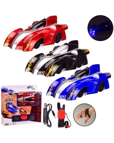 Машина р/у 891-1B 3 цвета, управление рукой, ездит по стене, свет, USB-кабель, р-р машины-14*8, 5*5
