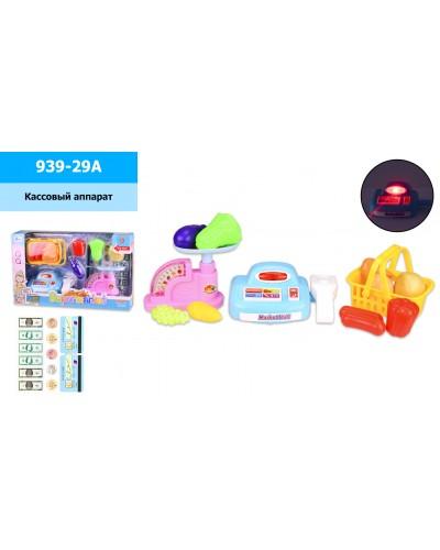 Кассовый аппарат 939-29A свет-звук, весы, корзинка с продуктами, игруш деньги, в кор.35*8*21.5 см