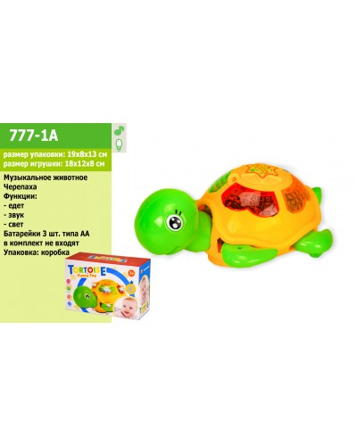 Муз.животное 777-1A черепаха, батар., свет, звук, в коробке 19*8*13см