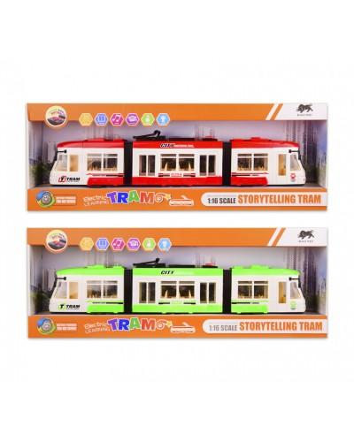 Трамвай батар. 1598 свет, звук, 2 цвета, в кор. 52*9*19 см, р-р игрушки – 46*5.5*8.5 см