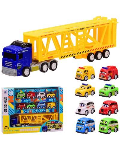 Трейлер инерц. City Car Team 278-46 8 машин в наборе, в кор. 35*7*26 см, р-р игрушки – 28*4.5*7.5 см