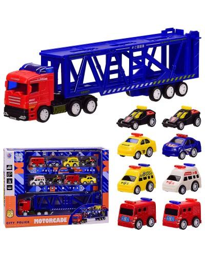 Трейлер инерц. City Police 278-42 8 машин в наборе, в кор. 34.5*7*25.5 см, р-р игрушки – 28*4.5*7.5