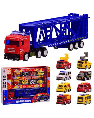 Трейлер инерц. City Rescue 278-45 8машин в наборе, инерц, в кор. 34.5*7*25.5 см, р-р игрушки