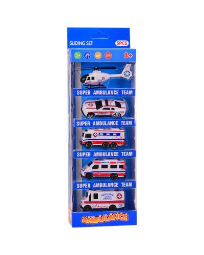Набор транспорта 7199B Скорая помощь, 5 видов в наборе, в кор. 10.5*4*28 см, р-р игрушки – 7*3*3 см