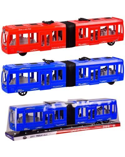 Троллейбус KX905-10 инерц., 2 цвета, р-р игрушки 48*7*10 см, под слюдой 50*9*12 см