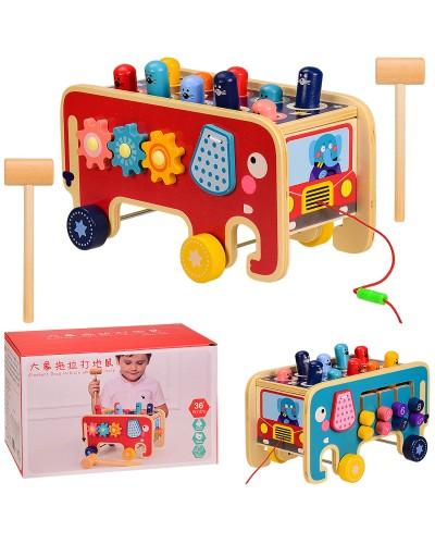 Деревянная игрушка J201 Слон-каталка, стучалка, шестеренки, в коробке 24*15*15 см