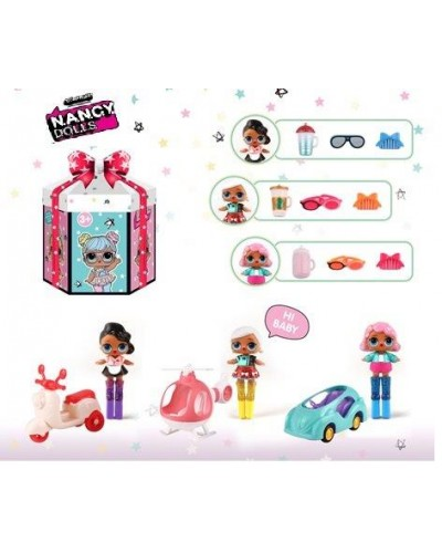 Игровой набор  NC2427 3 вида, в наборе куколка+транспорт+аксессуары, в подарочной коробке