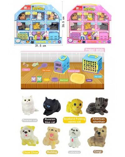 Игровой набор A1687 2 вида микс, 3 кошечки, 3 собачки, переноски, пакет корма, миски, лежанка