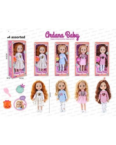Кукла A713 4 вида, расческа, игрушка, в кор.34,5*8*15 см