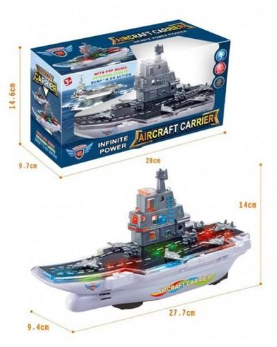 Муз.корабль 168A Авианосец, свет, звук, в коробке 28*10*15см