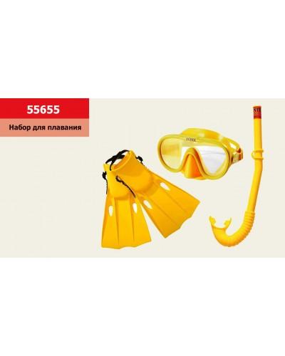 Набор для плавания 55655 трубка, маска и ласты, от 8 лет