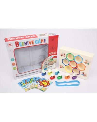 """Игра """" Веселый улий"""" 6870 разноцветные пчелки, пластиковый улей, щипцы, в коробке"""