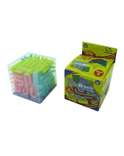 Головоломка 3D-лабиринт 236 куб, 2 цвета микс, в кор.8.7*8.7*12.5 см, р-р игрушки – 8.5 см