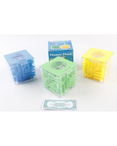 Головоломка 3D-лабиринт-копилка 2691 куб, 3 цвета микс, в кор. 9,5*9,5*9,5 см
