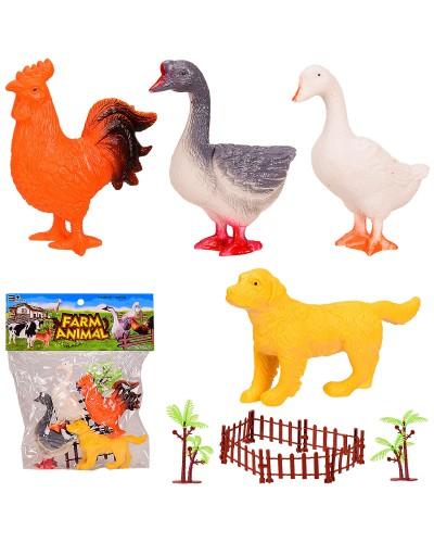 Животные Q901-4 Домашние,4 шт в наборе+забор, в пакете 23*27 см