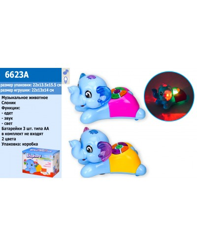Муз.животное 6623A слоник, свет, звук, музыка, 2 цвета, в кор.22*13,5*15,5см