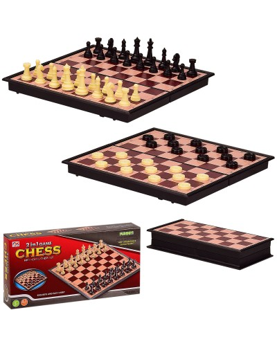Шахматы 3138 2 в 1, в кор.18*3*9 см, р-р доски – 18*18*1.5 см