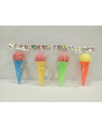 Игра ловушка 135 4 цвета, мороженое 13 см с поролоновым шариком в пакете