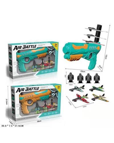 Игровой набор Air Battle 666-1 2 цвета, оружие и 4 самолета+мишени,в кор. 35*7,3*21,5см