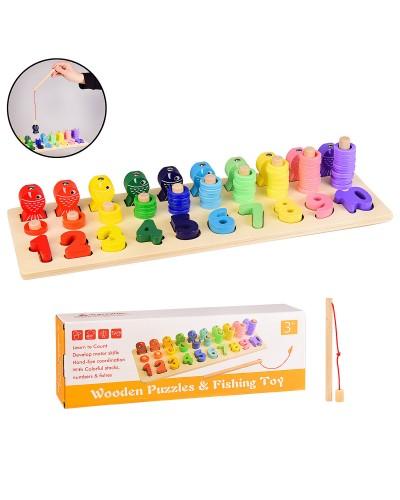 Деревянная игрушка WD2706 обучающая доска 3в1, пирамидки, цифры, рыбалка, в кор. 39*13.5*7.5 см