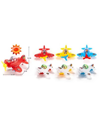 Заводной самолет 8891 самолетик, 3 вида, светиться, в пакете 20,5*20*10,5см