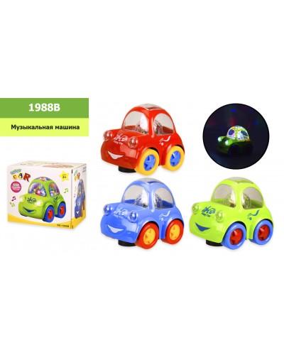 Муз.машина 1988B 3 цвета, батар, свет, звук, р-р игрушки – 15*12*13.5 см, в коробке 16*13*14см